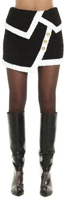 Balmain Asymmetric Sequin Detail Mini Skirt