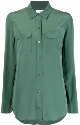 Equipment Long Sleeve Flap Pocket Silk Shirt