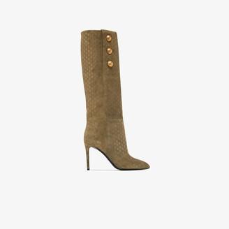 Balmain Green Jane 95 monogram buttoned boots