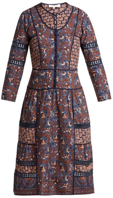 Sea Gemma Cotton Peasant Dress - Womens - Navy Multi