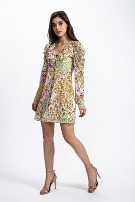 Liquorish Mini Dress in Lurex Floral Print with Rushed sleeves