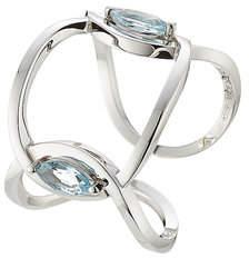 Delfina Delettrez 18kt White Gold Ring with Marquise Aquamarine