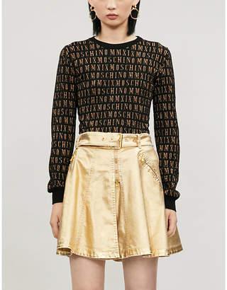 Moschino Metallic flared cotton-blend mini skirt