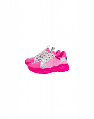 Moschino Teddy Fluo Sneakers In Calfskin And Mesh Unisex Fuchsia Size 25 It - (8k/8.5k Us)