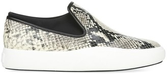 Via Spiga Yvonne Snakeskin-Embossed Leather Slip-On Sneakers