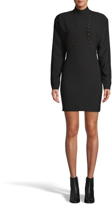 Nicole Miller Techy Crepe Mock Neck Dress With Button Detail