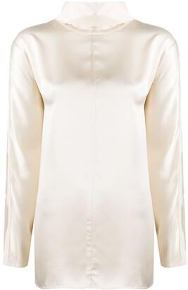 Co Roll-Neck Silk Blouse