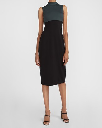 Express Color Block Mock Neck Sheath Dress
