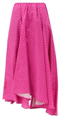 Balenciaga Polka-dot Jersey Midi Skirt - Pink Print