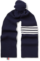Thom Browne Striped Ribbed Wool Scarf - Midnight blue
