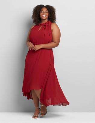 Lane Bryant Tie-Neck High-Low Maxi Dress