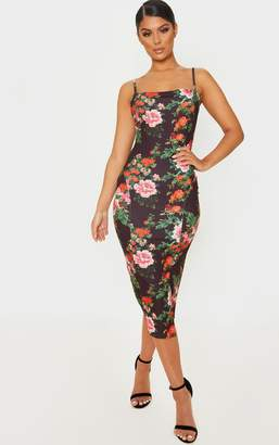 PrettyLittleThing Black Floral Print Strappy Split Hem Midi Dress