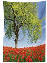 vipsung Poppy Decor Tablecloth Landscape of Blooming Poppies on the Field Majestic Tree Rural Terrain Habitat Photo Dining Room Kitchen Rectangular Table Cover