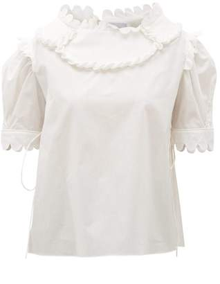 Horror Vacui Mary Scalloped Cotton Blouse - Womens - White