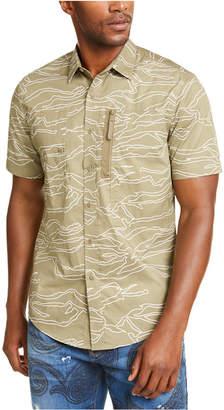 Sean John Men Camouflage Military Flight Short Sleeve Shirt
