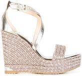 Jimmy Choo crossover strap wedge heels