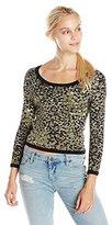 Rebecca Minkoff Women's Gwen Animal Knit Cropped Sweater