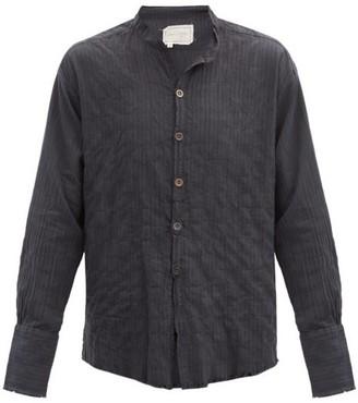 Greg Lauren Raw-edge Striped Cotton-blend Shirt - Black