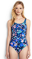 Lands' End Women's Petite Slender Underwire Carmela One Piece Swimsuit-Black Artistic Meadow Floral