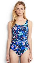 Lands' End Women's Petite Slender Underwire Carmela One Piece Swimsuit-Black Artistic Meadow Floral