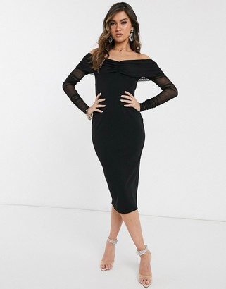 Bardot Asos Design ASOS DESIGN Long sleeve midi dress with mesh sleeves-Black