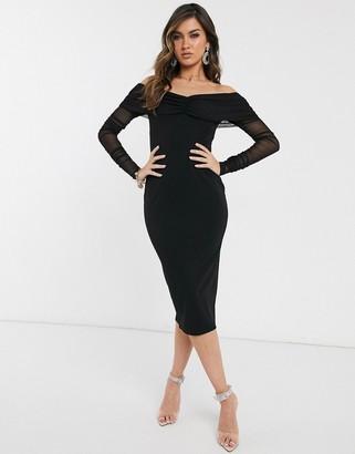 Bardot Asos Design ASOS DESIGN Long sleeve midi dress with mesh sleeves