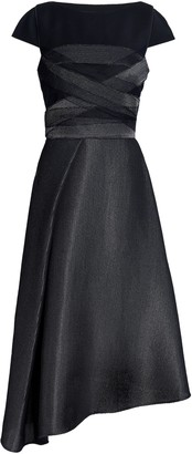 Amanda Wakeley Asymmetric Wool-blend Felt-paneled Mesh Midi Dress
