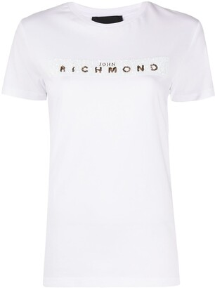 John Richmond sequinned logo T-shirt