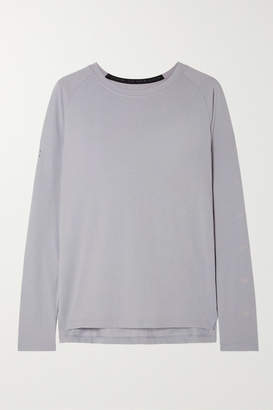 Nike Tailwind Printed Perforated Stretch-jersey Top - Light gray