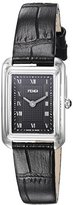 Fendi Women's 'Classico Rect' Swiss Quartz Stainless Steel and Leather Dress Watch, Color:Black (Model: F700021011)