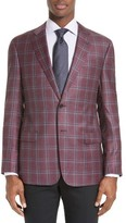 Armani Collezioni Men's Trim Fit Plaid Wool Sport Coat