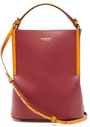 Burberry Peggy Leather Bucket Bag - Burgundy Multi