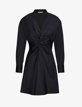 Sandro Celia ruched satin-twill mini dress