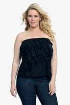 Black Lace Ruffled Strapless Top