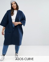 Asos Denim Kimono With Split Sleeve and Tie Detail