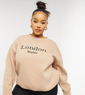 In The Style Plus x Lorna Luxe London oversized sweat top in camel