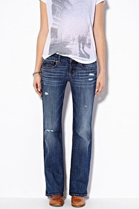 American Eagle Outfitters Medium Destroyed Wash Favorite Boyfriend Jeans, Womens 0 Short By