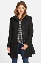 Kensie Single Breasted Ruffle Hem Coat