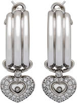 Chopard Happy Diamonds 18k White Gold Hoop Drop Earrings