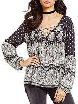 Billabong Just A Dream Printed Lace-Up Blouse