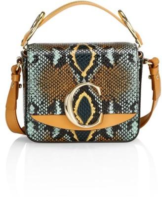 Chloé Mini C Python-Embossed Leather Crossbody Bag