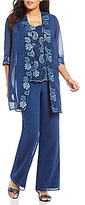 Le Bos Floral Embroidered 3-Piece Pant Set