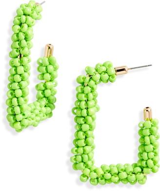 BP Seed Beaded Rectangle Hoop Earrings