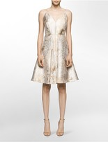 Calvin Klein Brocade V-Neck Fit + Flare Dress