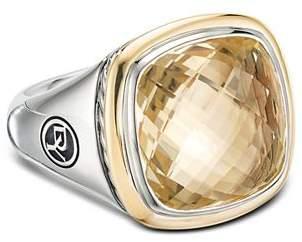 David Yurman Sterling Silver & 18K Yellow Gold Albion Champagne Citrine Ring