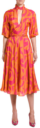 Off-White High-Neck Leaves Print Dress