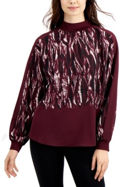 Alfani Mockneck Abstract-Print Blouse, Created for Macy's