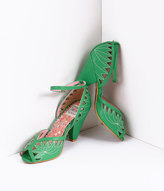 Unique Vintage Bettie Page Green Leatherette D'Orsay Willow Cut Out Peep Toe Pumps Shoes