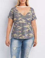 Charlotte Russe Plus Size Camo Cut-Out Tee