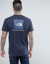 The North Face T-shirt With Blue Box Back Logo In Navy